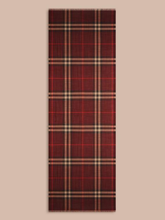 Rosso violetto Sciarpa leggera in lana e seta con motivo check Rosso Violetto - cell image 3
