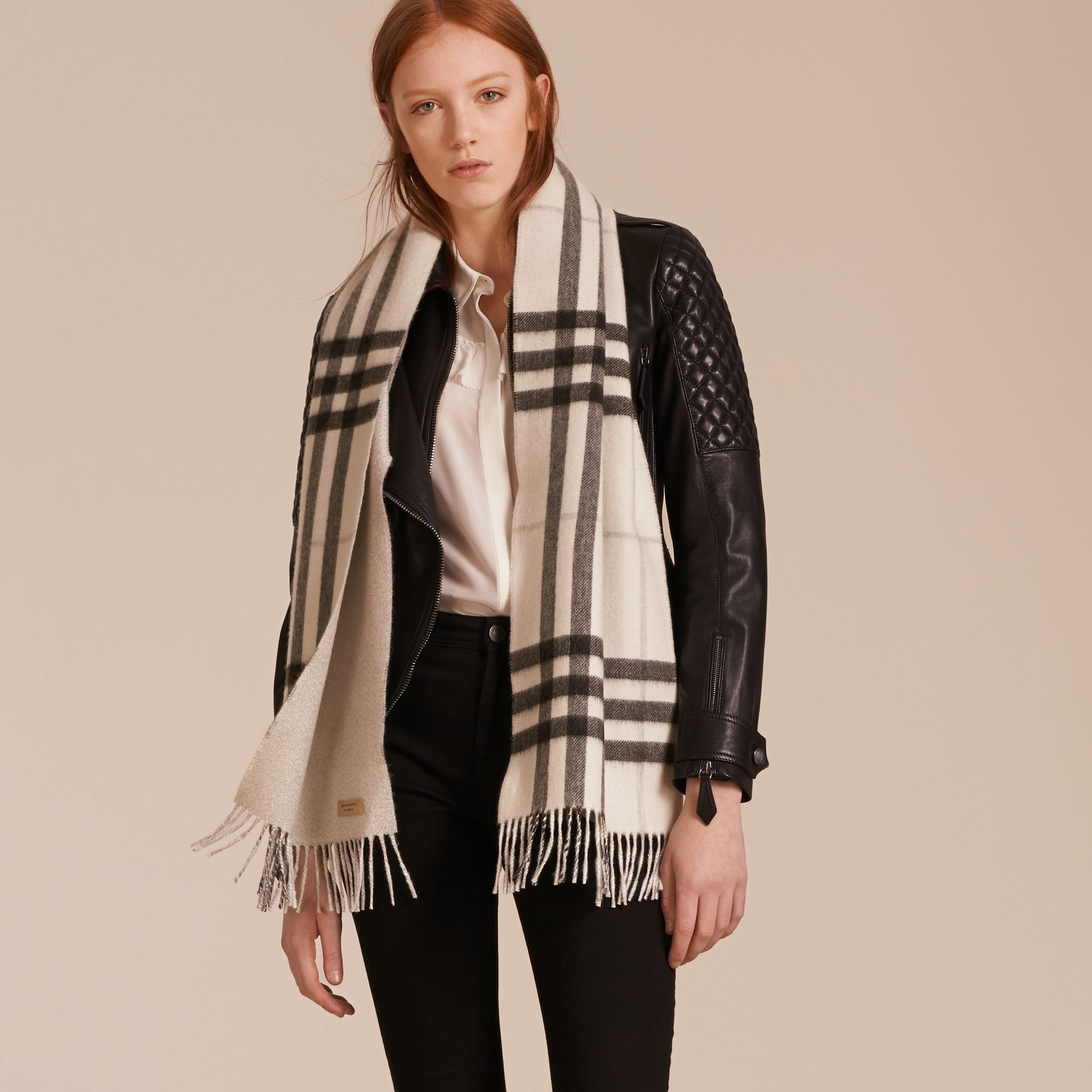 Reversible Metallic Check Cashmere Scarf in Natural White - gallery image 3