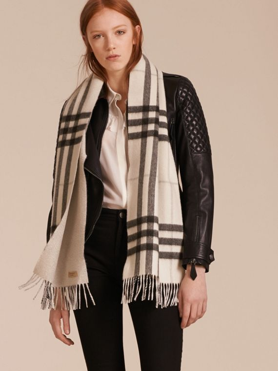 Reversible Metallic Check Cashmere Scarf in Natural White - cell image 2