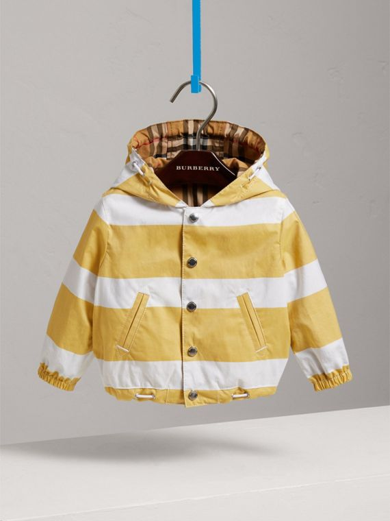 Reversible Stripe and Vintage Check Hooded Jacket in Larch Yellow/whte