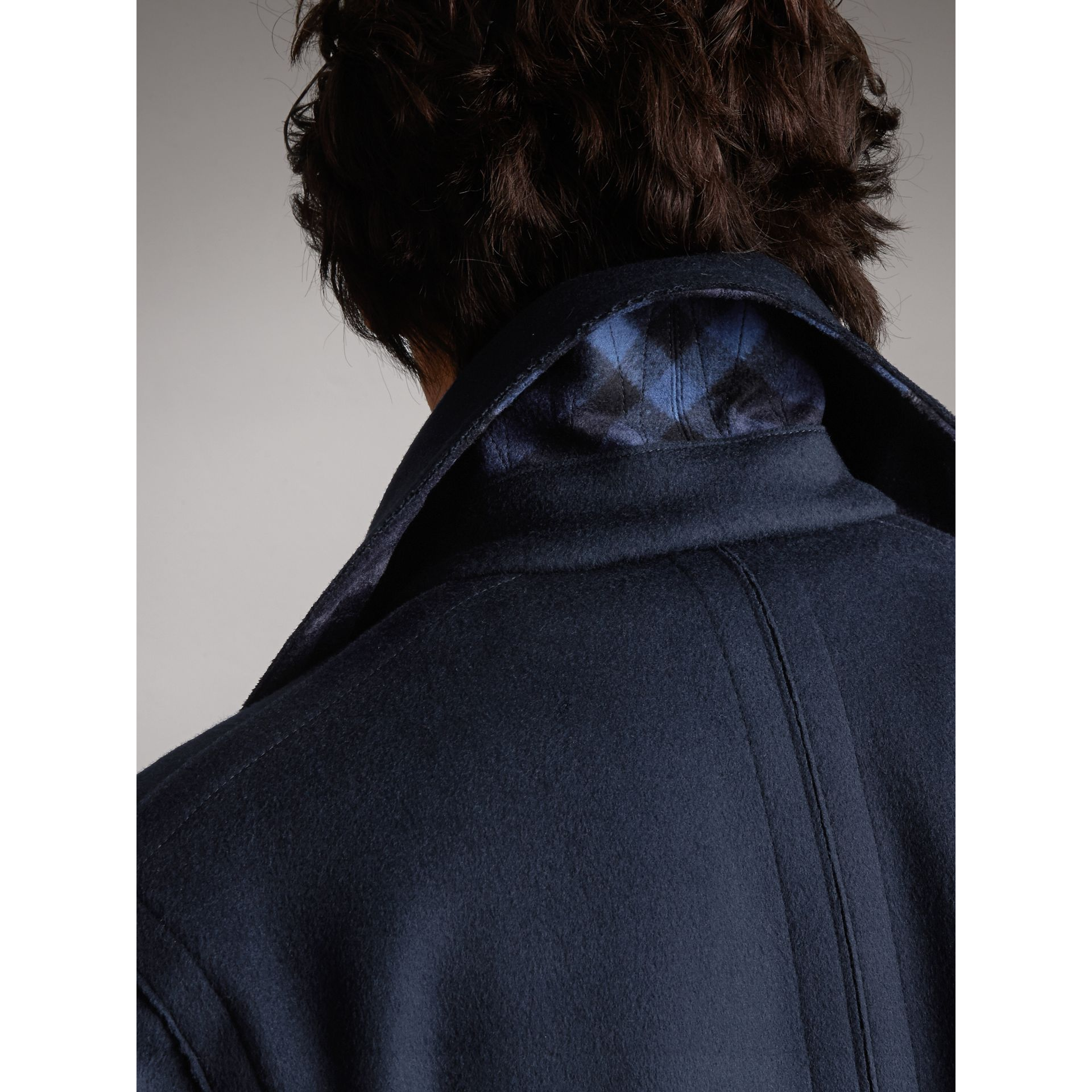 Resin Button Wool Pea Coat in Military Navy - Men | Burberry - gallery image 6