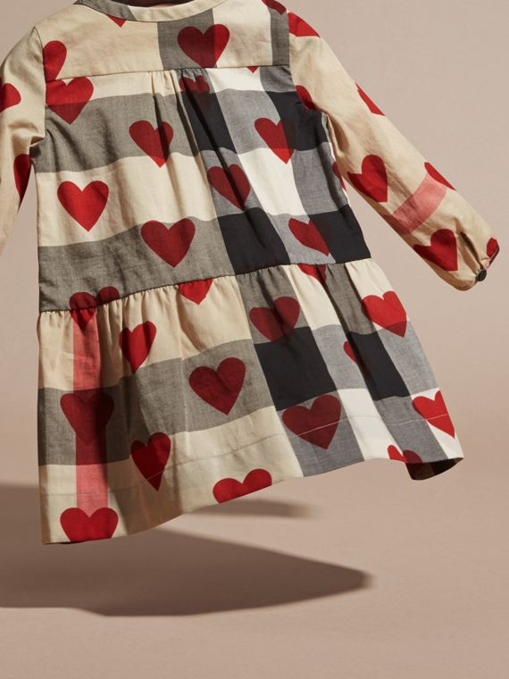 Parade red Heart and Check Cotton A-line Dress - cell image 3