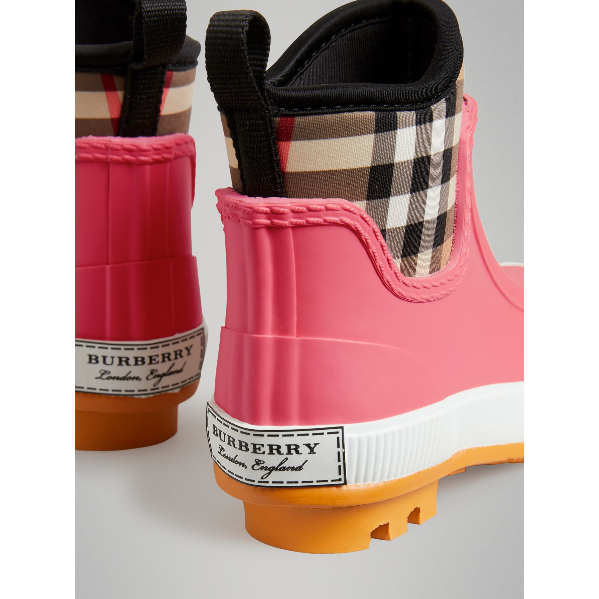 Vintage Check Neoprene and Rubber Rain Boots in Pink Azalea | Burberry Australia - gallery image 1