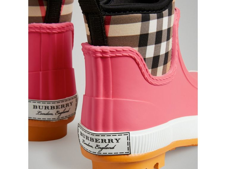 Vintage Check Neoprene and Rubber Rain Boots in Pink Azalea | Burberry United Kingdom - cell image 1