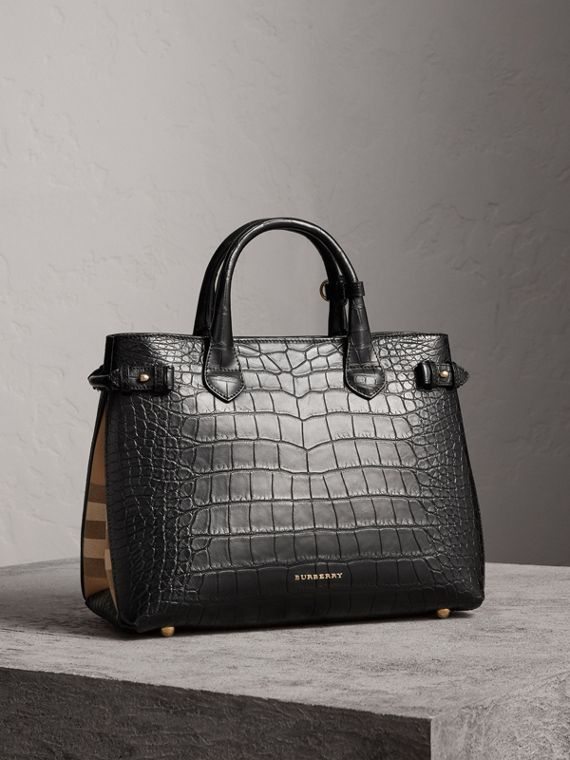 Sac The Banner medium en alligator (Noir)
