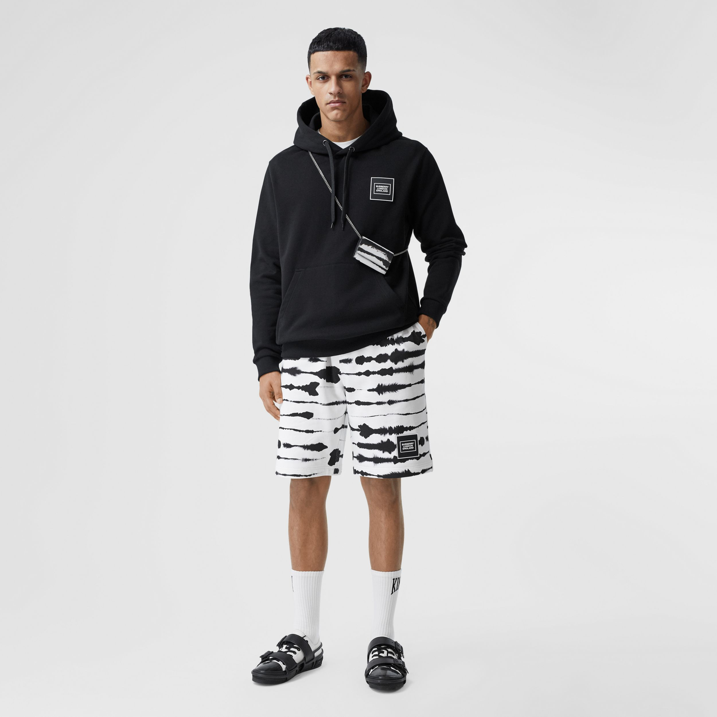 Watercolour Print Cotton Drawcord Shorts in Black/white - Men | Burberry - 1