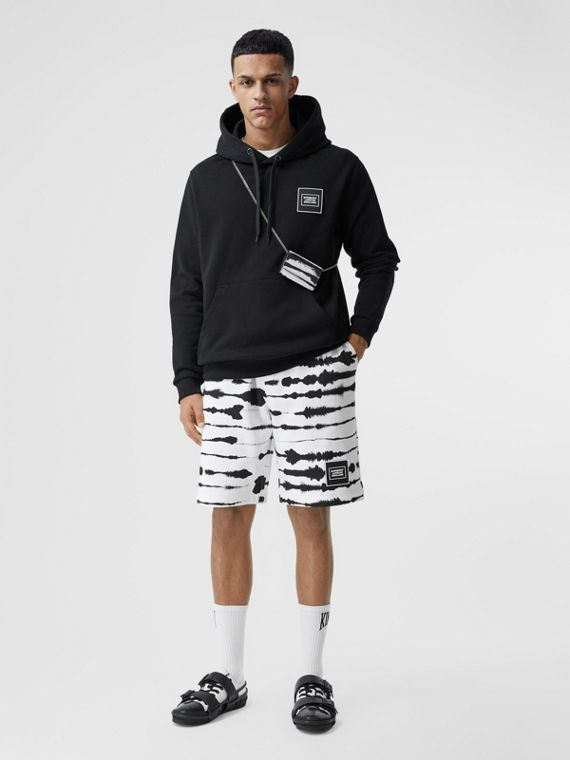 Watercolour Print Cotton Drawcord Shorts in Black/white