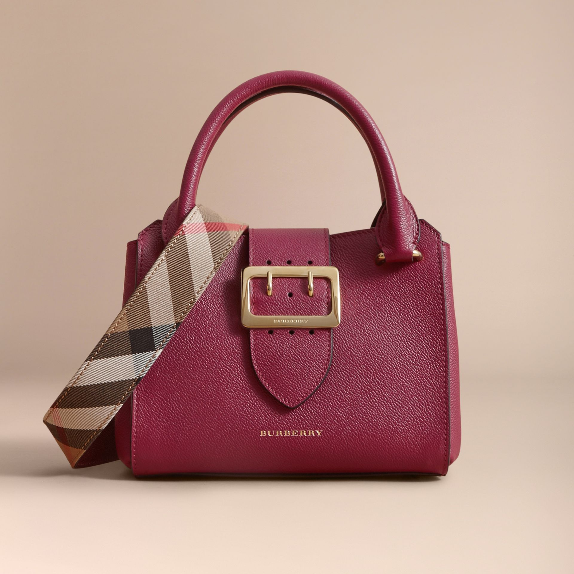The Small Buckle Tote in Grainy Leather Dark Plum - gallery image 8