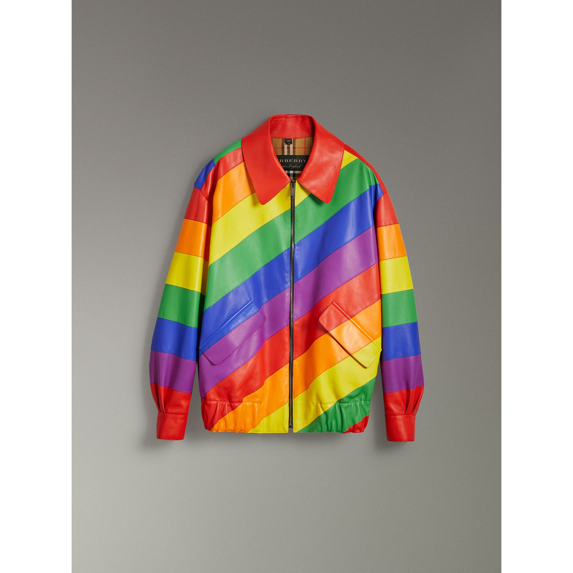Rainbow Nappa Leather Harrington Jacket | Burberry - gallery image 3