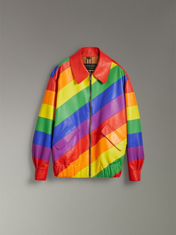 Rainbow Nappa Leather Harrington Jacket | Burberry United Kingdom - cell image 3