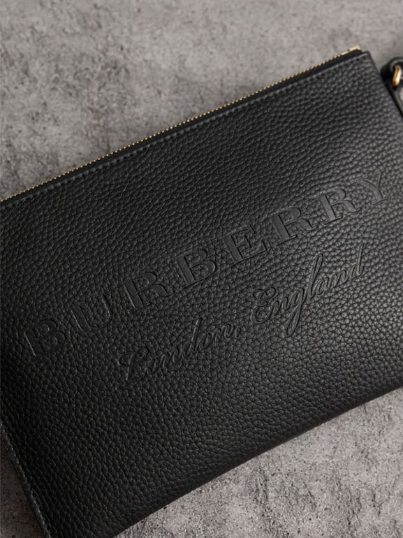 Embossed Leather Clutch Bag in Black - Women | Burberry United Kingdom - cell image 1