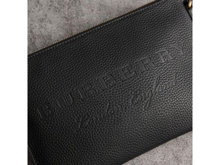 Embossed Leather Clutch Bag in Black - Women | Burberry - cell image 1