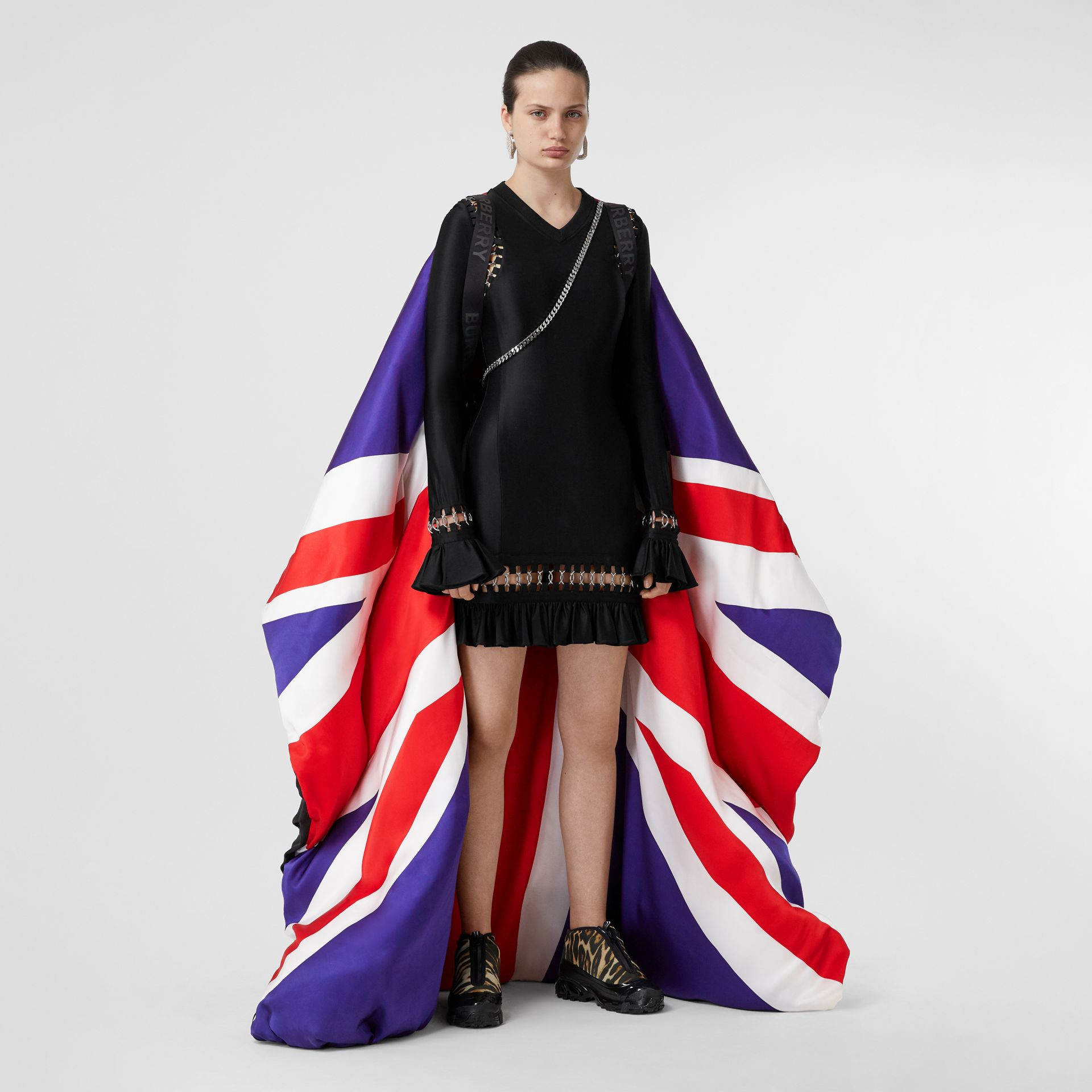 Union Jack and Logo Print Oversized Puffer Cape in Multicolour | Burberry United States - gallery image 11