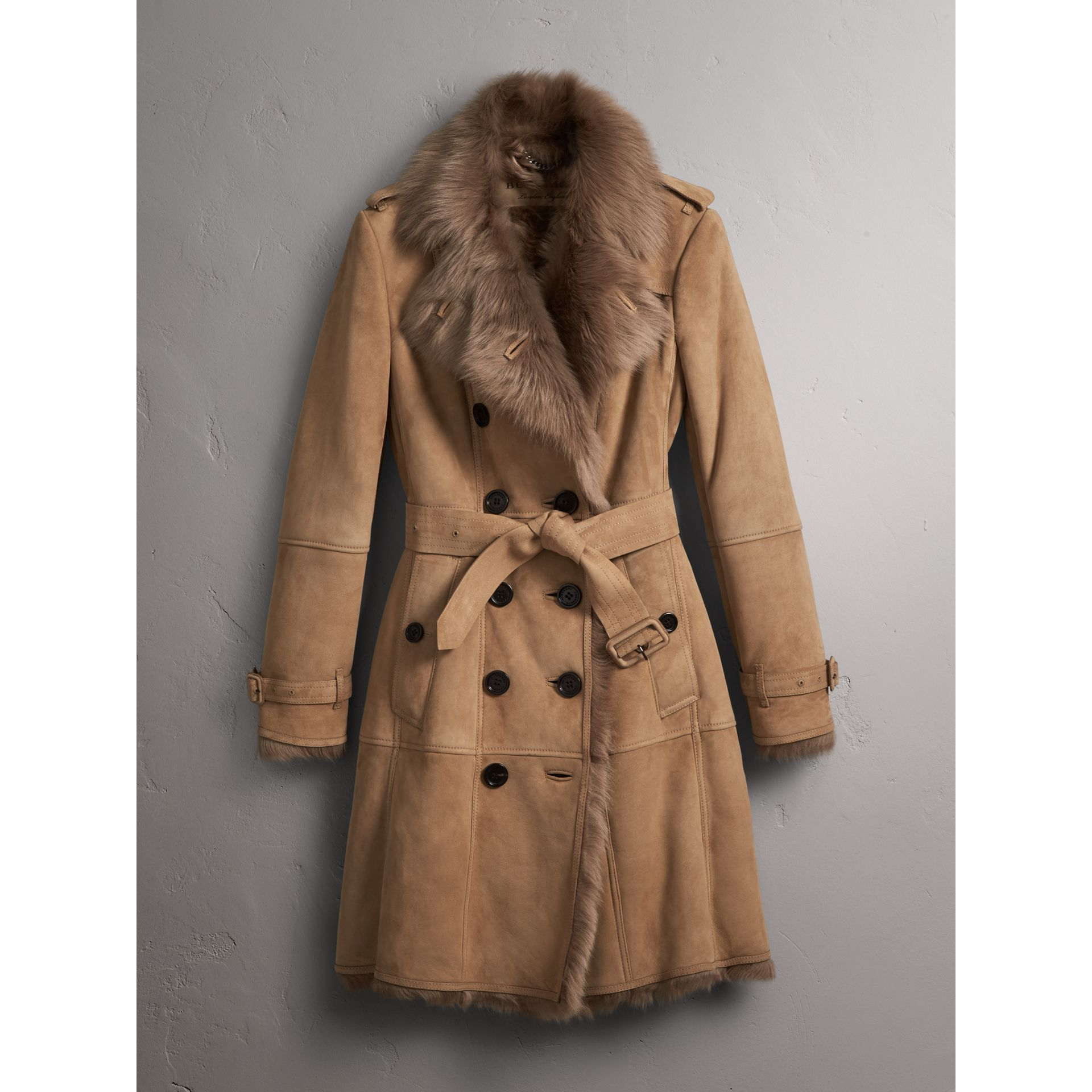 Shearling Trench Coat in Camel - Women | Burberry - gallery image 4