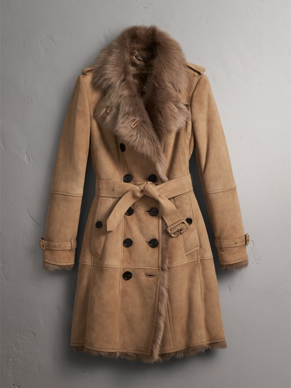 Shearling Trench Coat in Camel - Women | Burberry - cell image 3