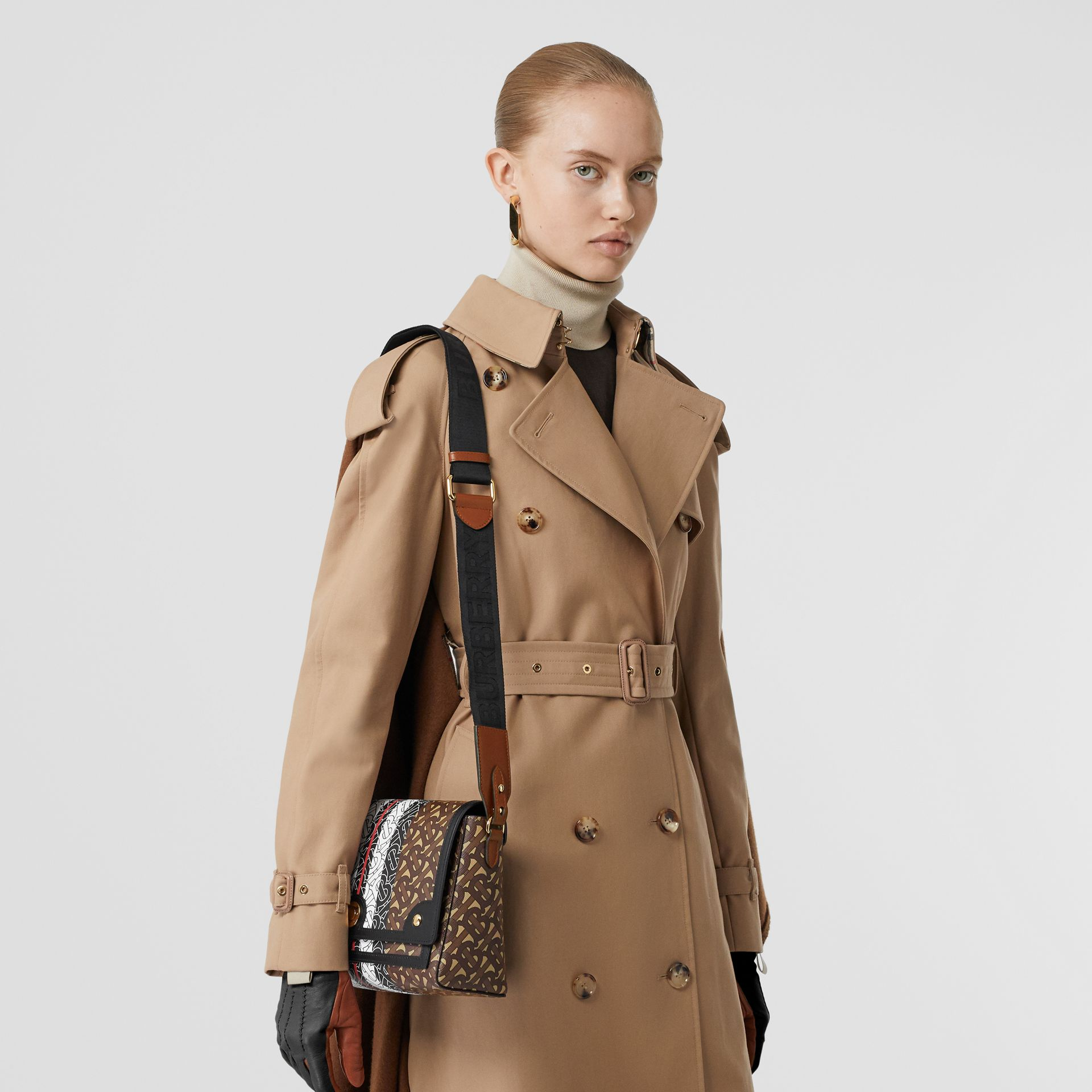 Monogram Stripe E-canvas Note Crossbody Bag in Bridle Brown - Women | Burberry - gallery image 2