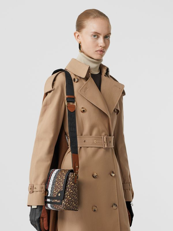 Monogram Stripe E-canvas Note Crossbody Bag in Bridle Brown - Women | Burberry - cell image 2