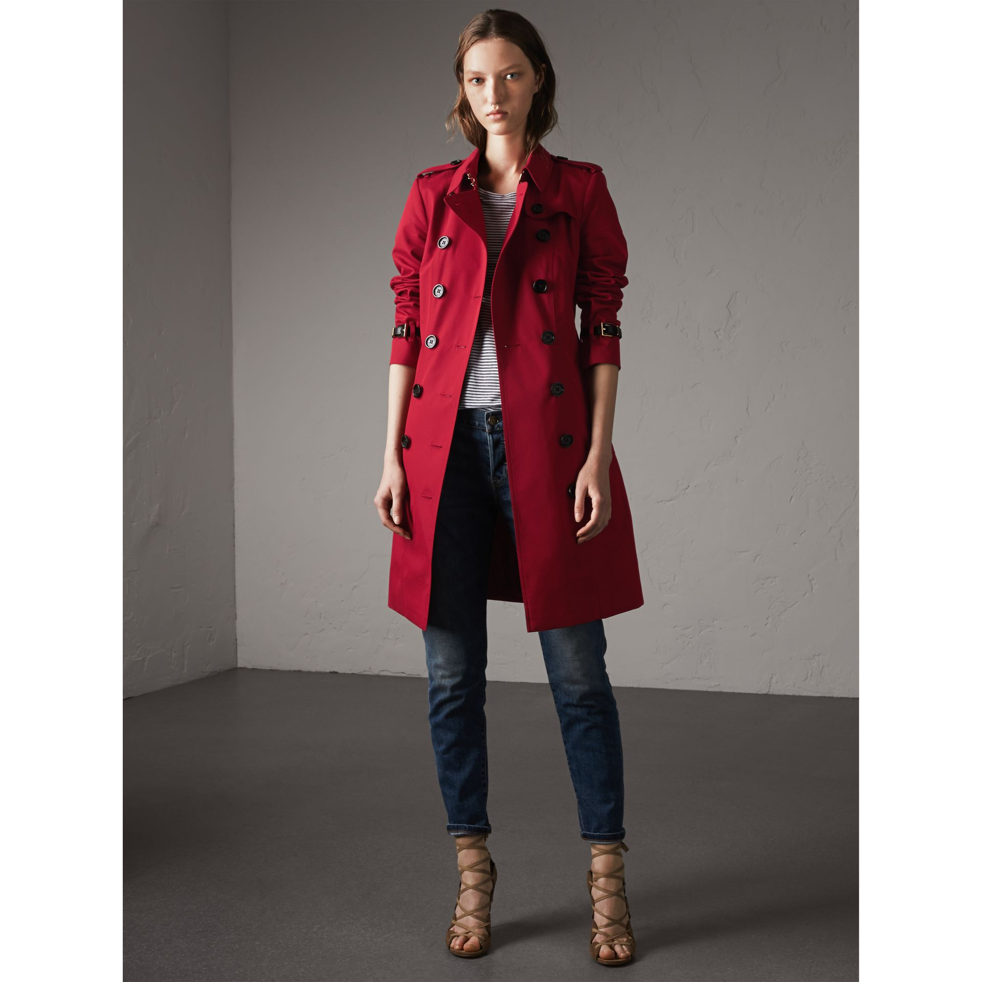 Leather Trim Cotton Gabardine Trench Coat in Parade Red - Women | Burberry Singapore - gallery image 7