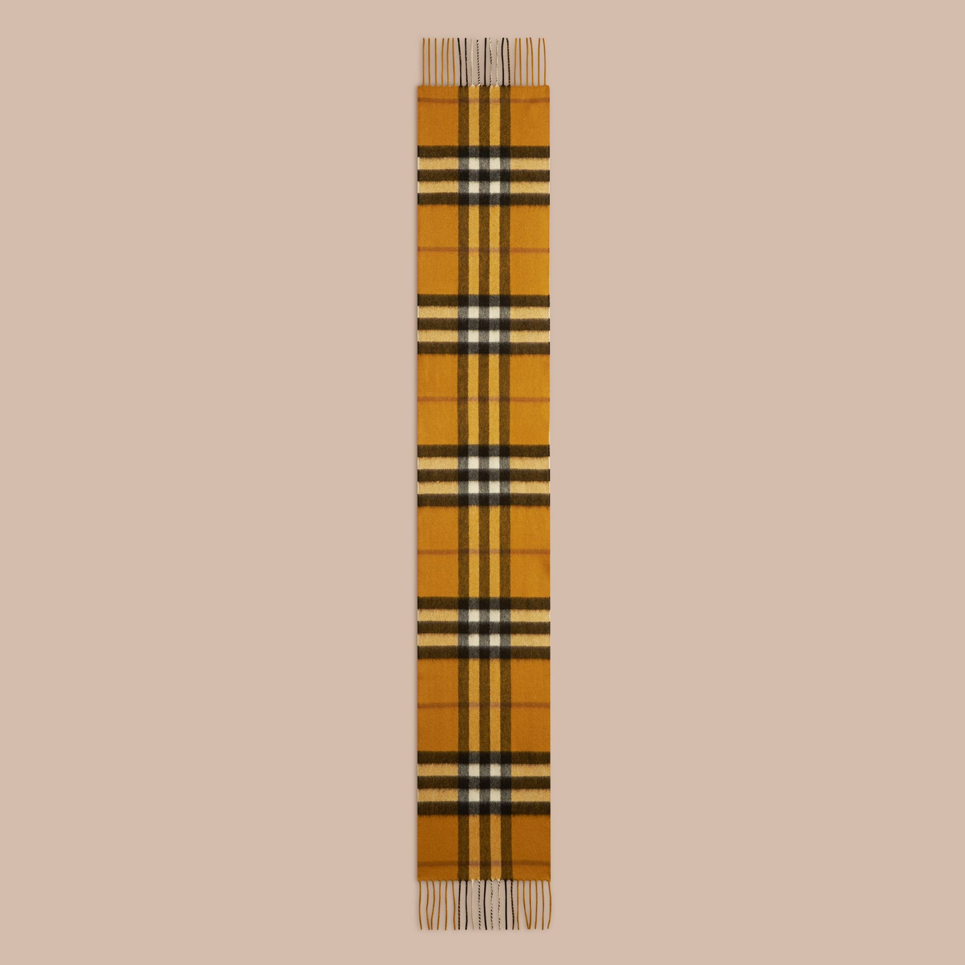 Amber yellow The Mini Classic Cashmere Scarf in Check - gallery image 2