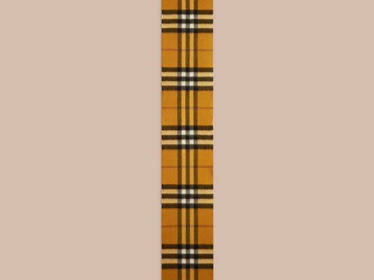 Amber yellow The Mini Classic Cashmere Scarf in Check - cell image 1