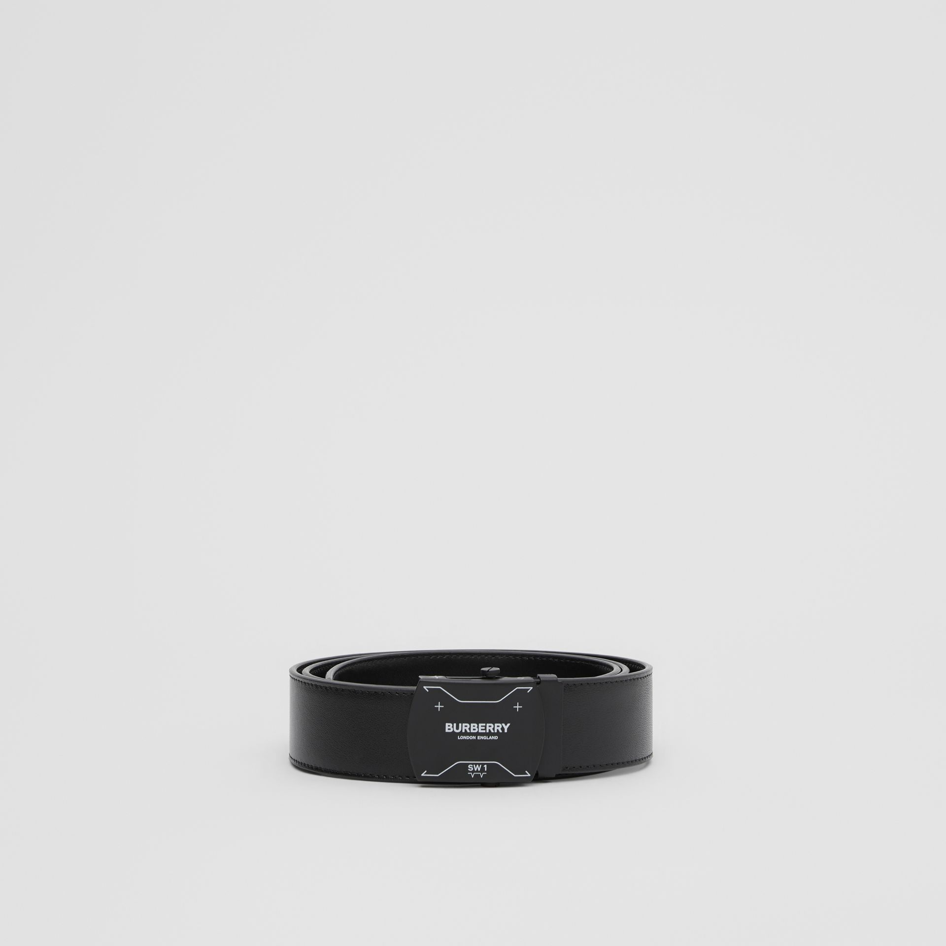 Symbol Print Plaque Buckle Leather Belt in Black - Men | Burberry - gallery image 3