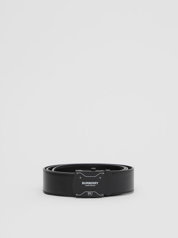 Symbol Print Plaque Buckle Leather Belt in Black - Men | Burberry - cell image 3