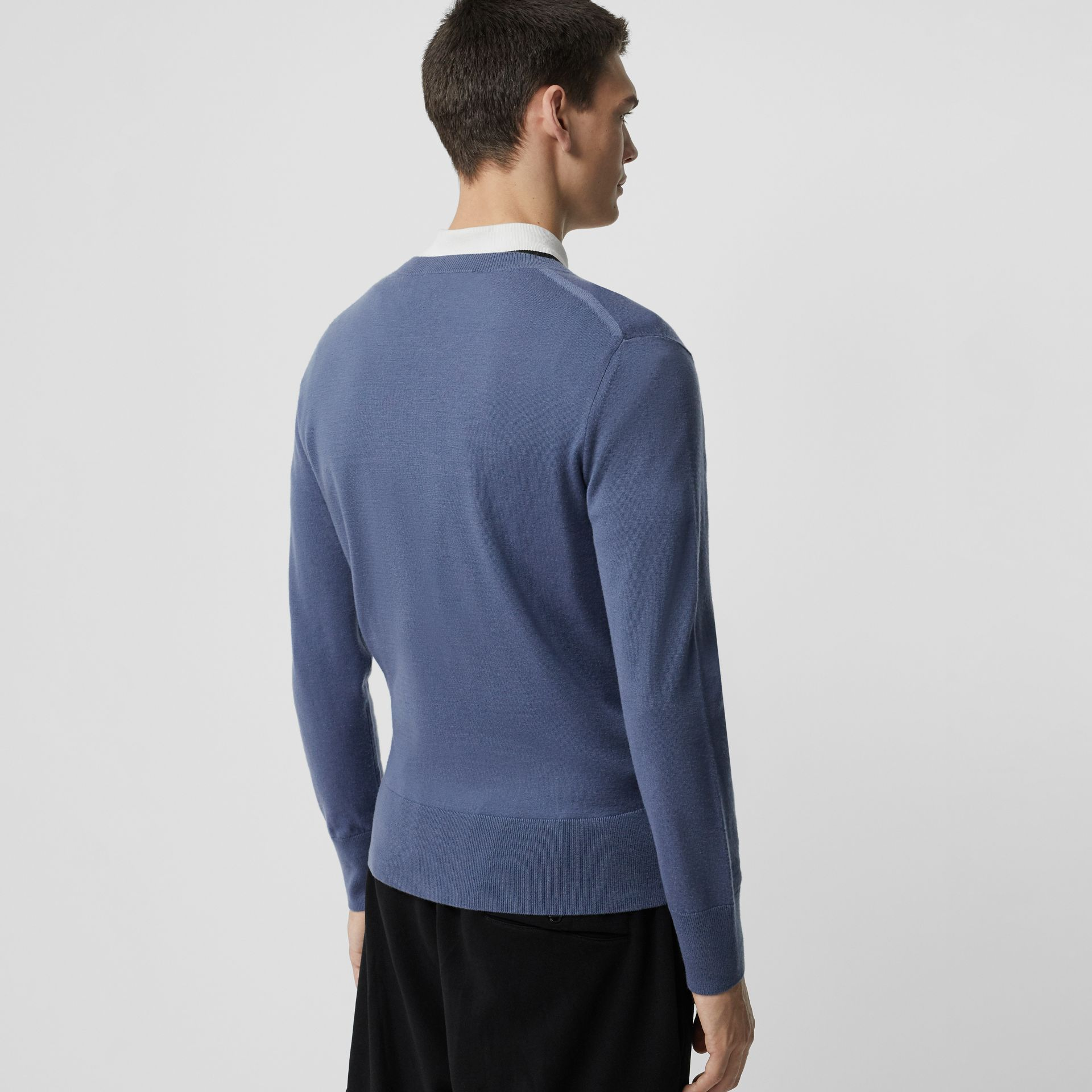 Crew Neck Cashmere Sweater in Airforce Blue - Men | Burberry - gallery image 2