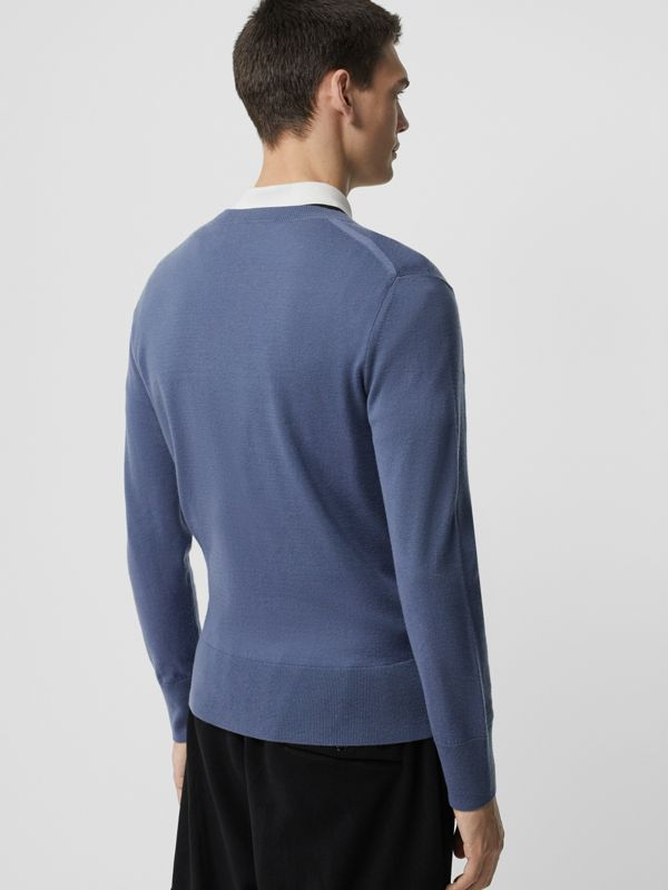 Crew Neck Cashmere Sweater in Airforce Blue - Men | Burberry - cell image 2