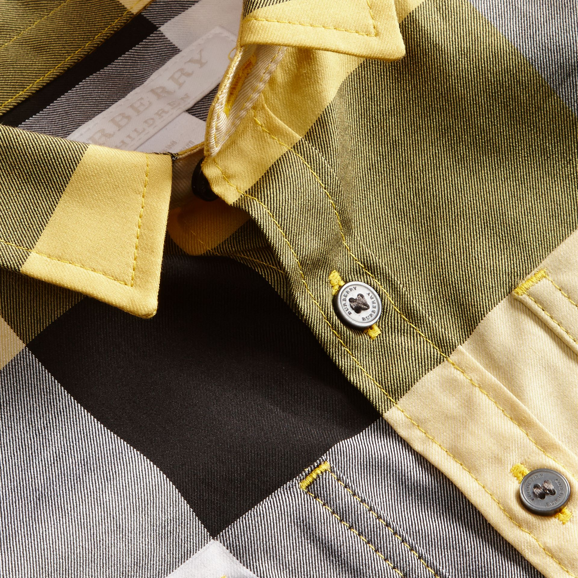 Short-sleeve Check Cotton Shirt in Bright Yellow - gallery image 2
