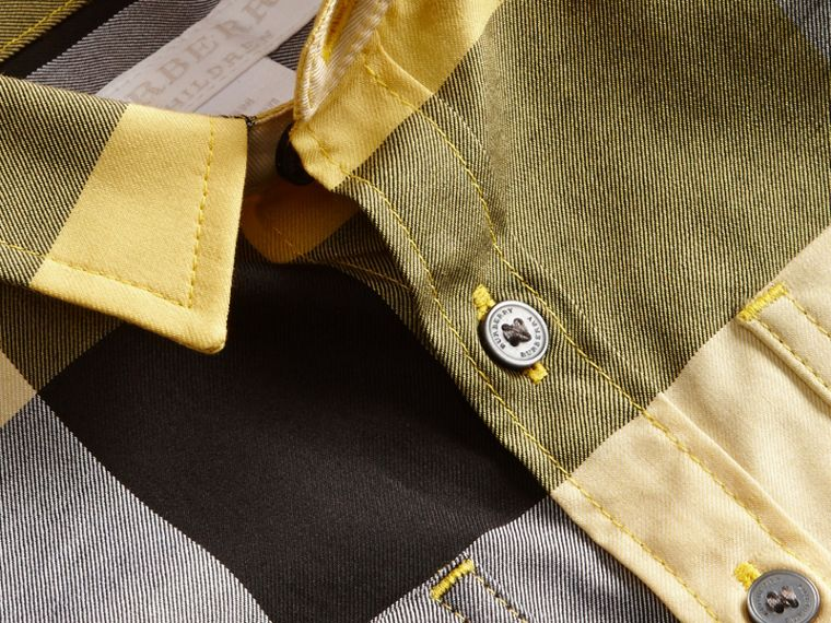 Short-sleeve Check Cotton Shirt in Bright Yellow - cell image 1