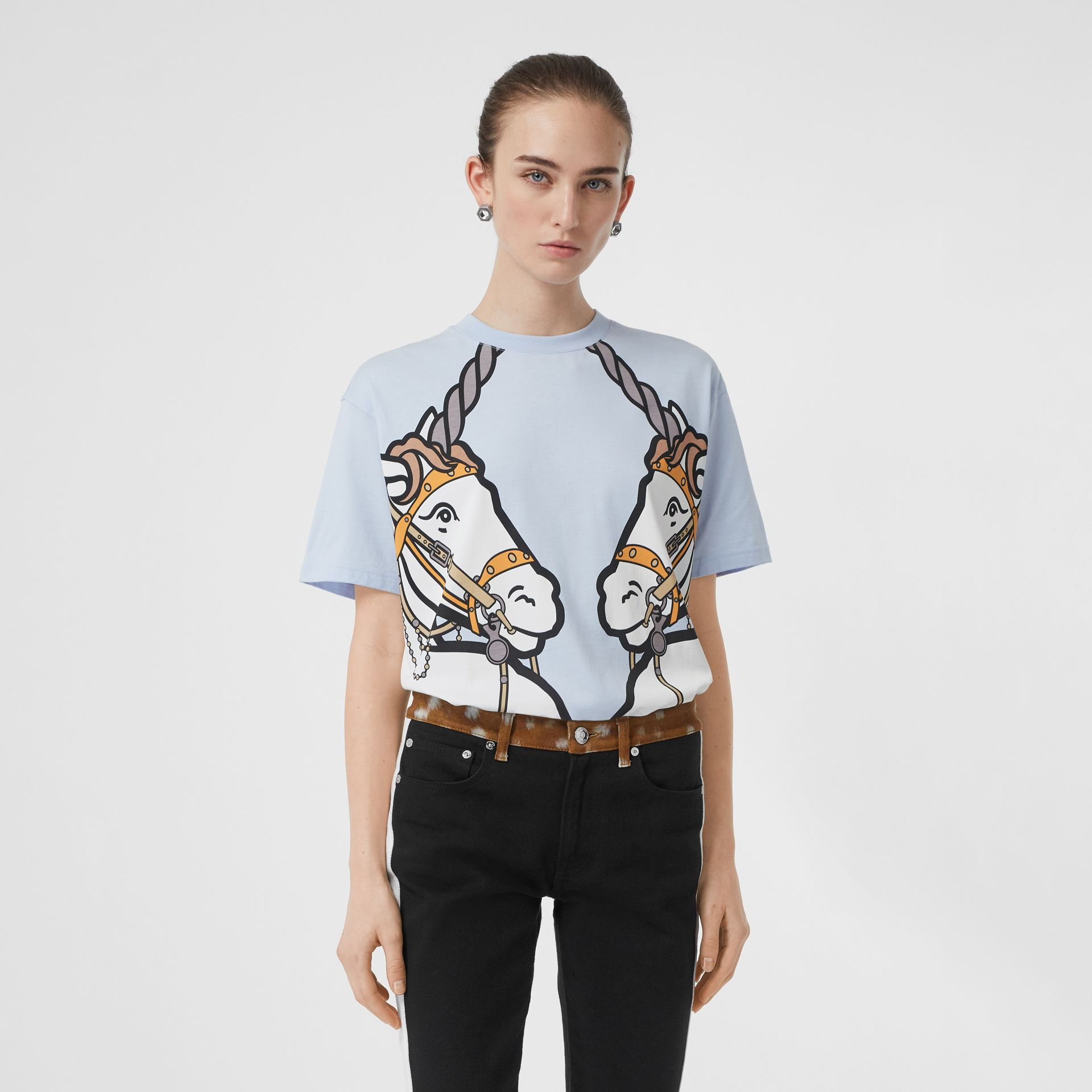 Unicorn Print Cotton Oversized T-shirt in Pale Blue - Women | Burberry United Kingdom - gallery image 0