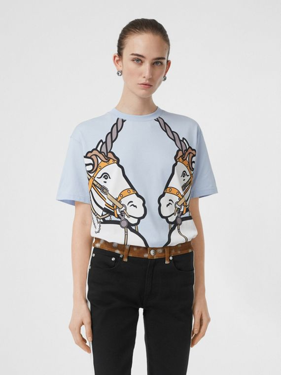 Unicorn Print Cotton Oversized T-shirt in Pale Blue