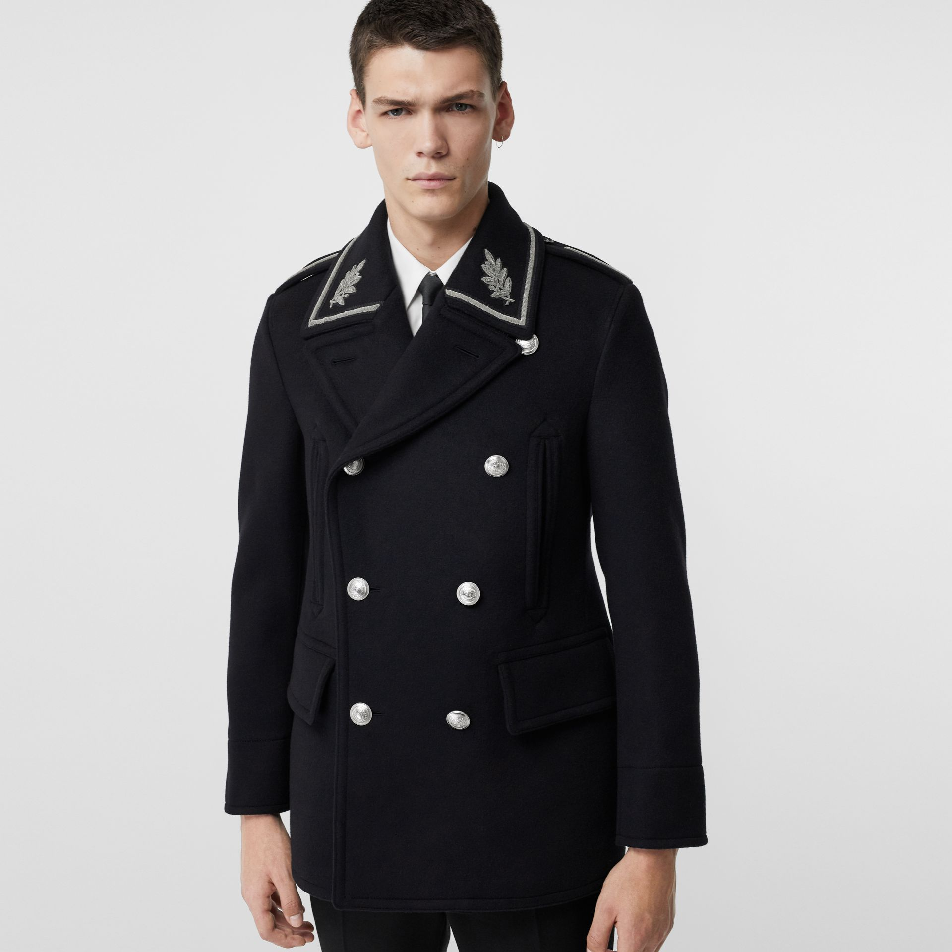 Bullion Wool Cashmere Pea Coat in Dark Navy - Men | Burberry Singapore - gallery image 5