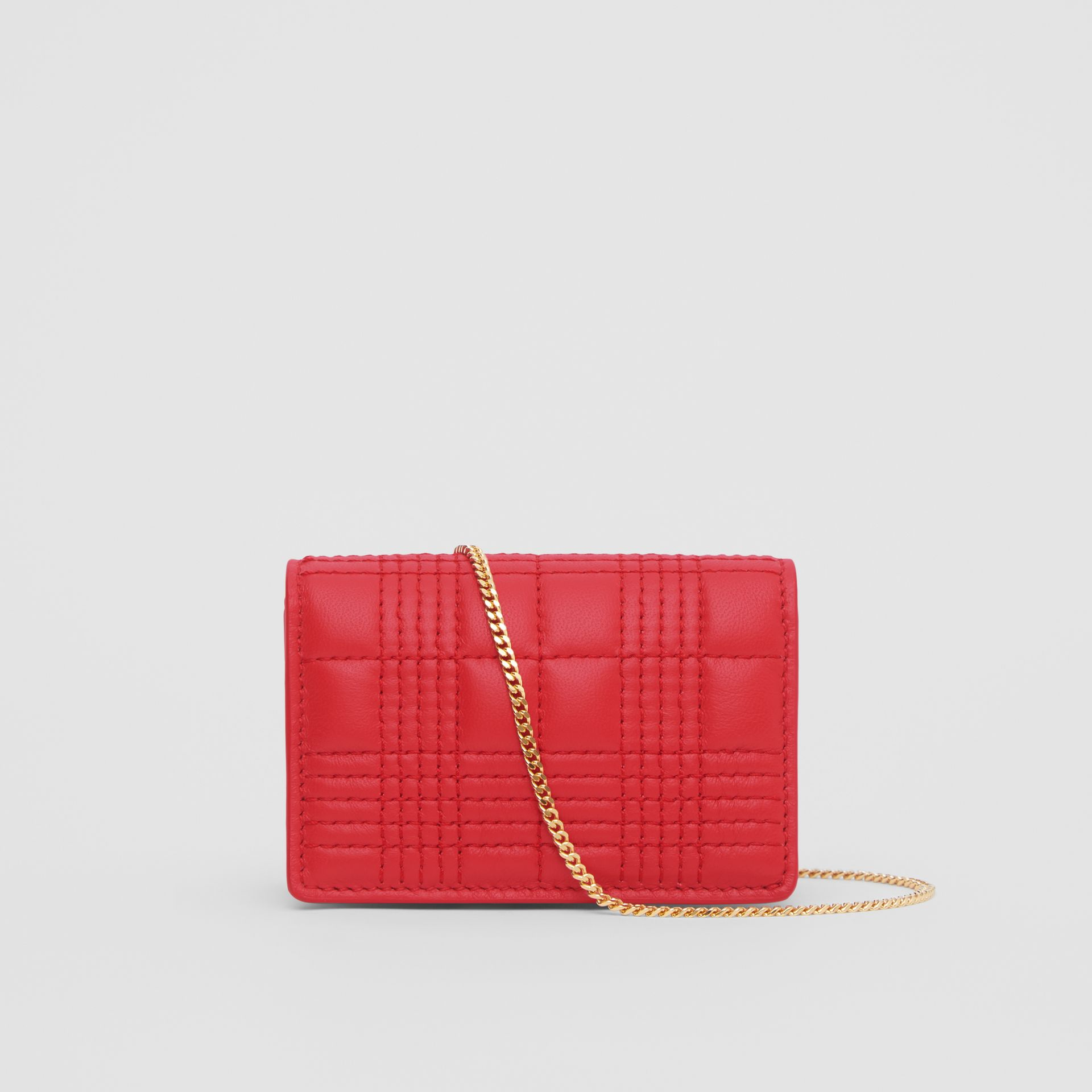 Porte-cartes en cuir d'agneau matelassé avec sangle amovible (Rouge Vif) | Burberry Canada - photo de la galerie 9