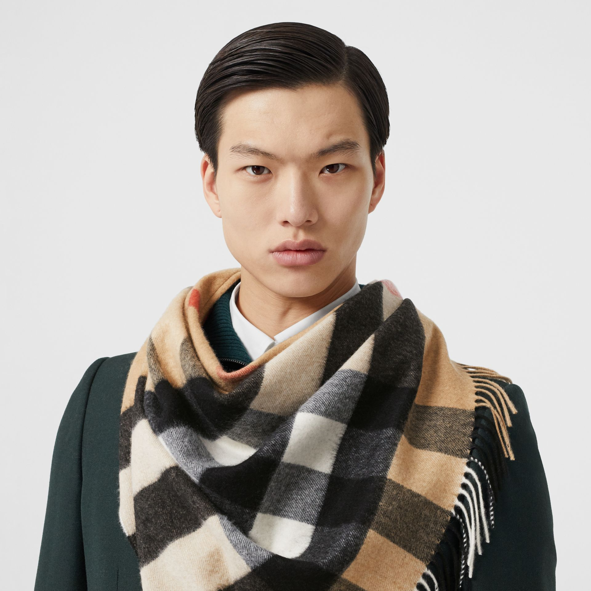 Unicorn Motif Check Cashmere Bandana in Camel | Burberry - gallery image 3