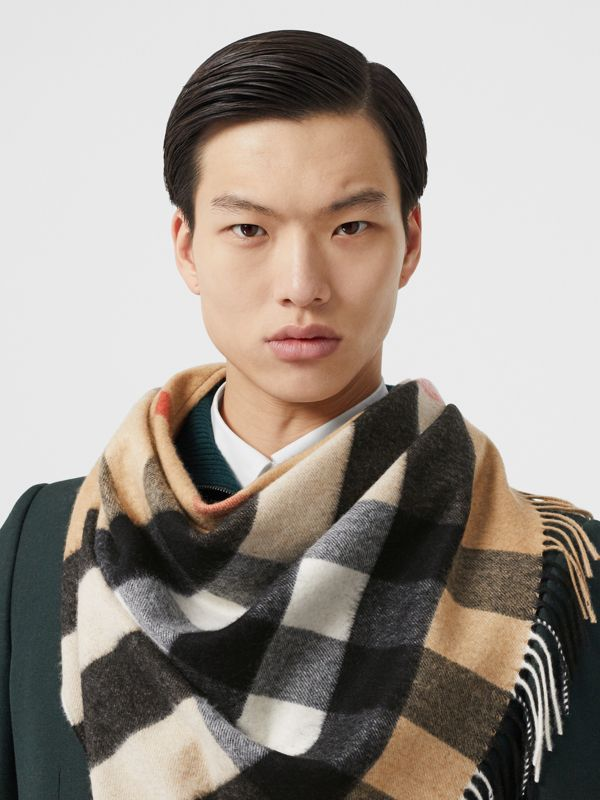 Unicorn Motif Check Cashmere Bandana in Camel | Burberry - cell image 3