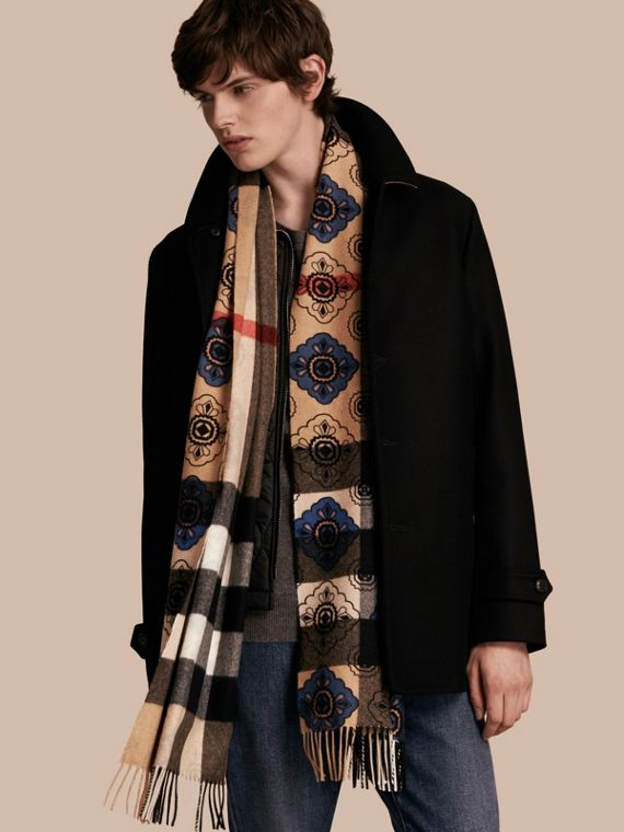 Steel blue Reversible Geometric Tile Print and Check Cashmere Scarf - cell image 3