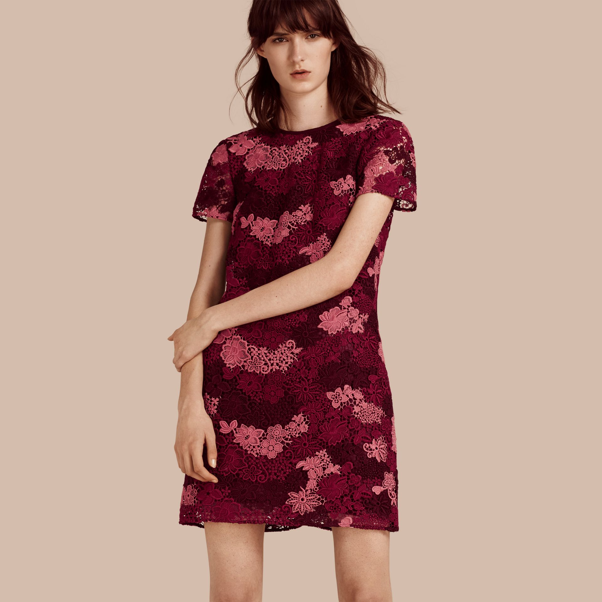 Deep claret Italian-woven Lace T-shirt Dress Deep Claret - gallery image 1