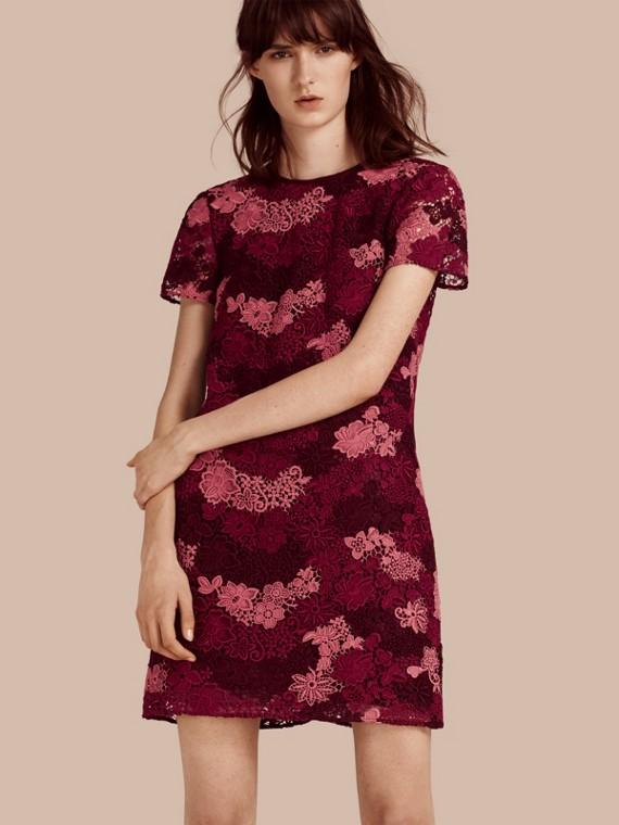 義大利精紡蕾絲 T 恤洋裝 深葡萄紅