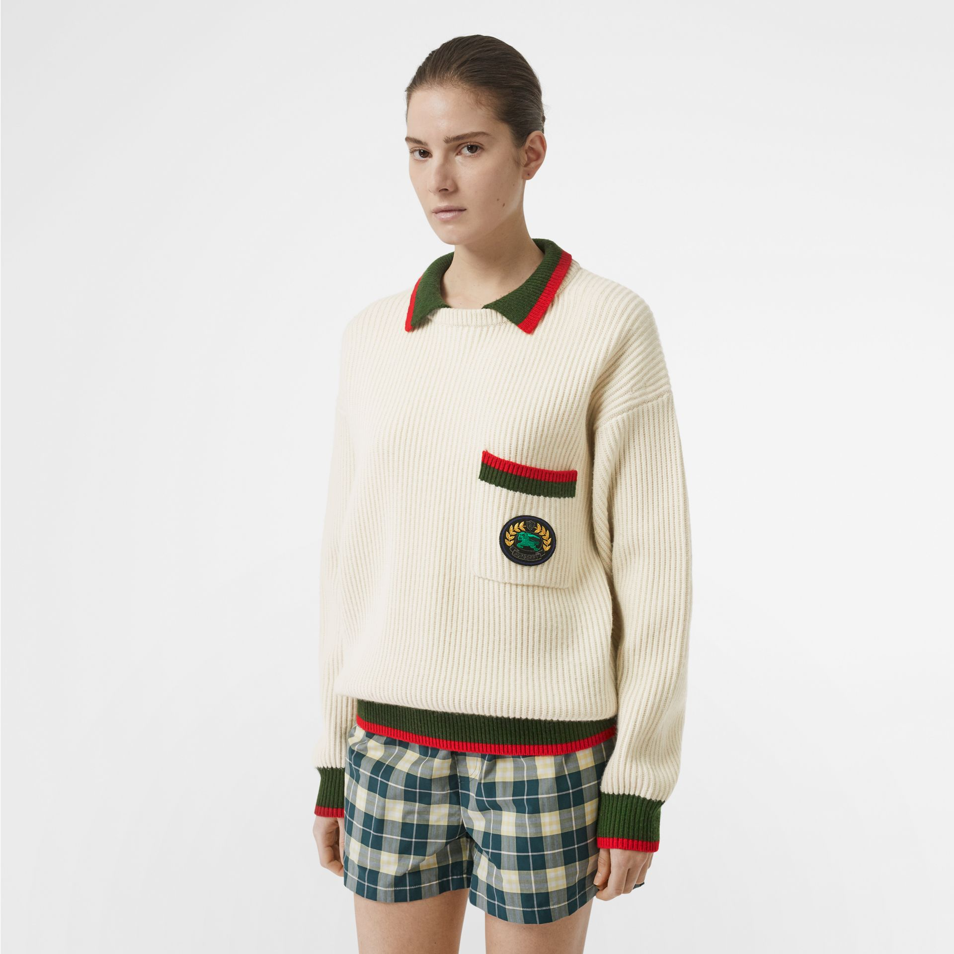 Rib Knit Wool Cashmere Sweater in Ivory - Women | Burberry Canada - gallery image 0
