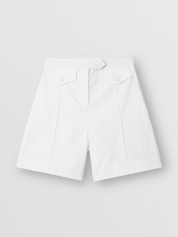Logo Print Cotton Tailored Shorts in Optic White | Burberry - cell image 3
