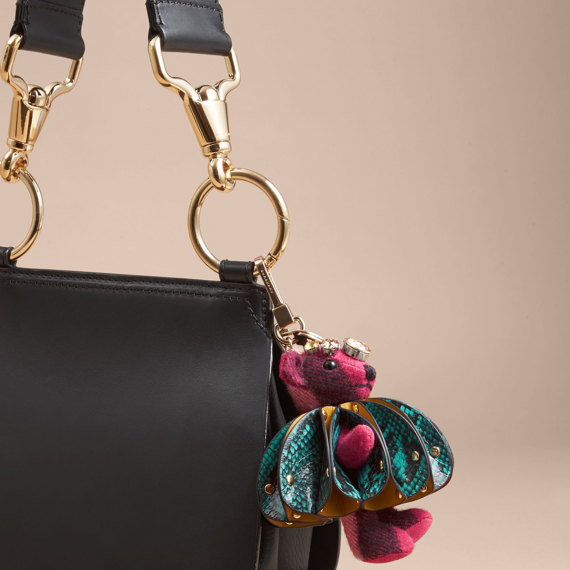 Thomas Bear Charm in Ruffled Leather with Crystals in Fuchsia Pink - Women | Burberry United Kingdom - gallery image 3