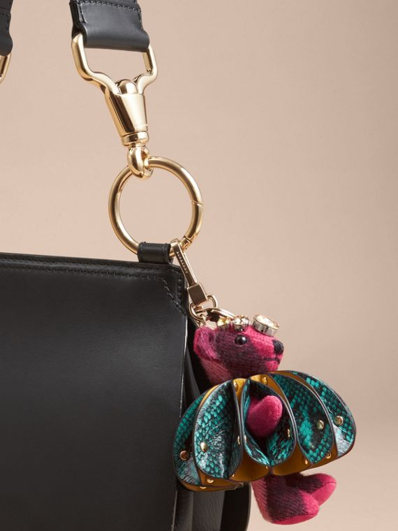 Thomas Bear Charm in Ruffled Leather with Crystals in Fuchsia Pink - Women | Burberry - cell image 2