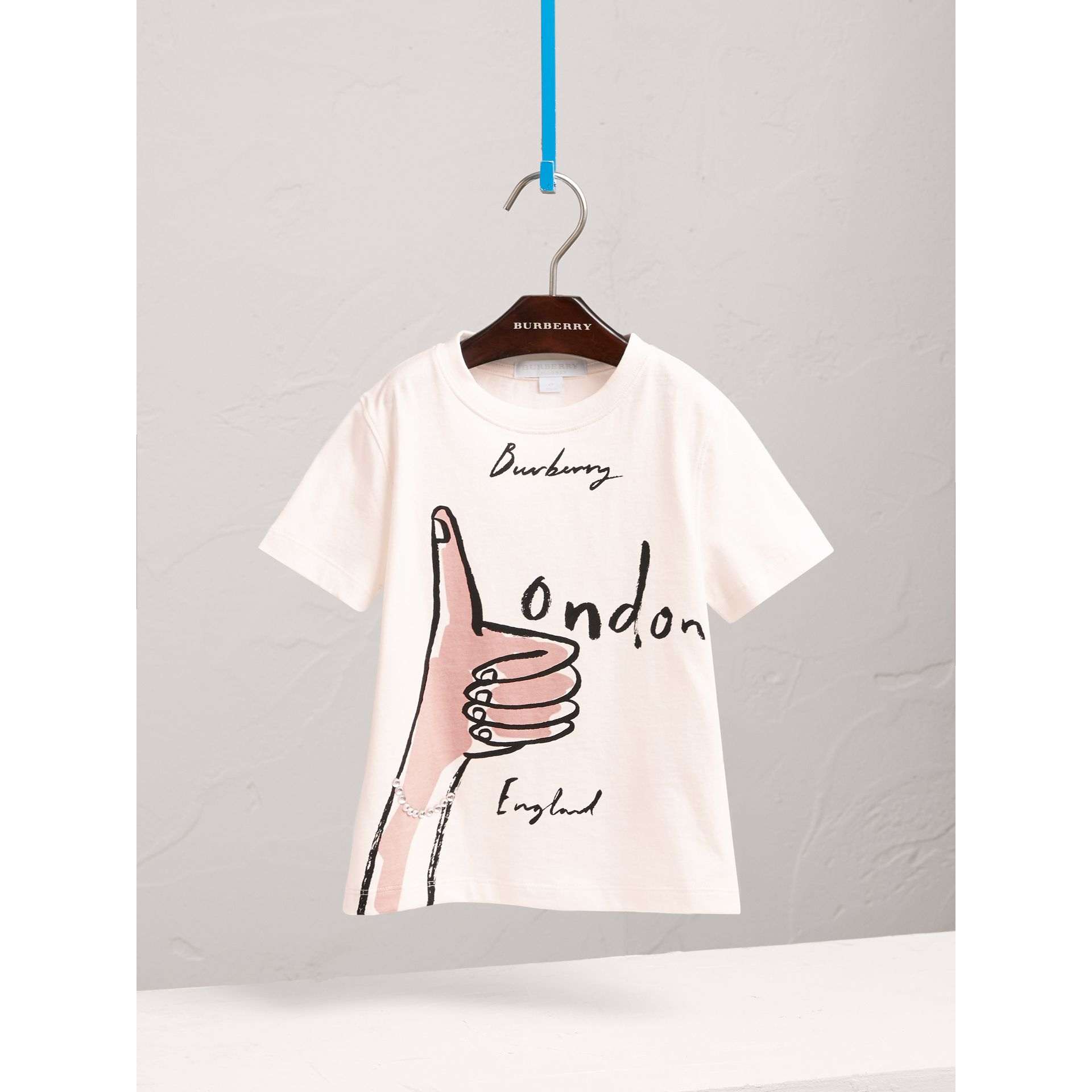 Gem-embellished London Icons Print Cotton T-shirt in Natural White - Girl | Burberry United Kingdom - gallery image 3