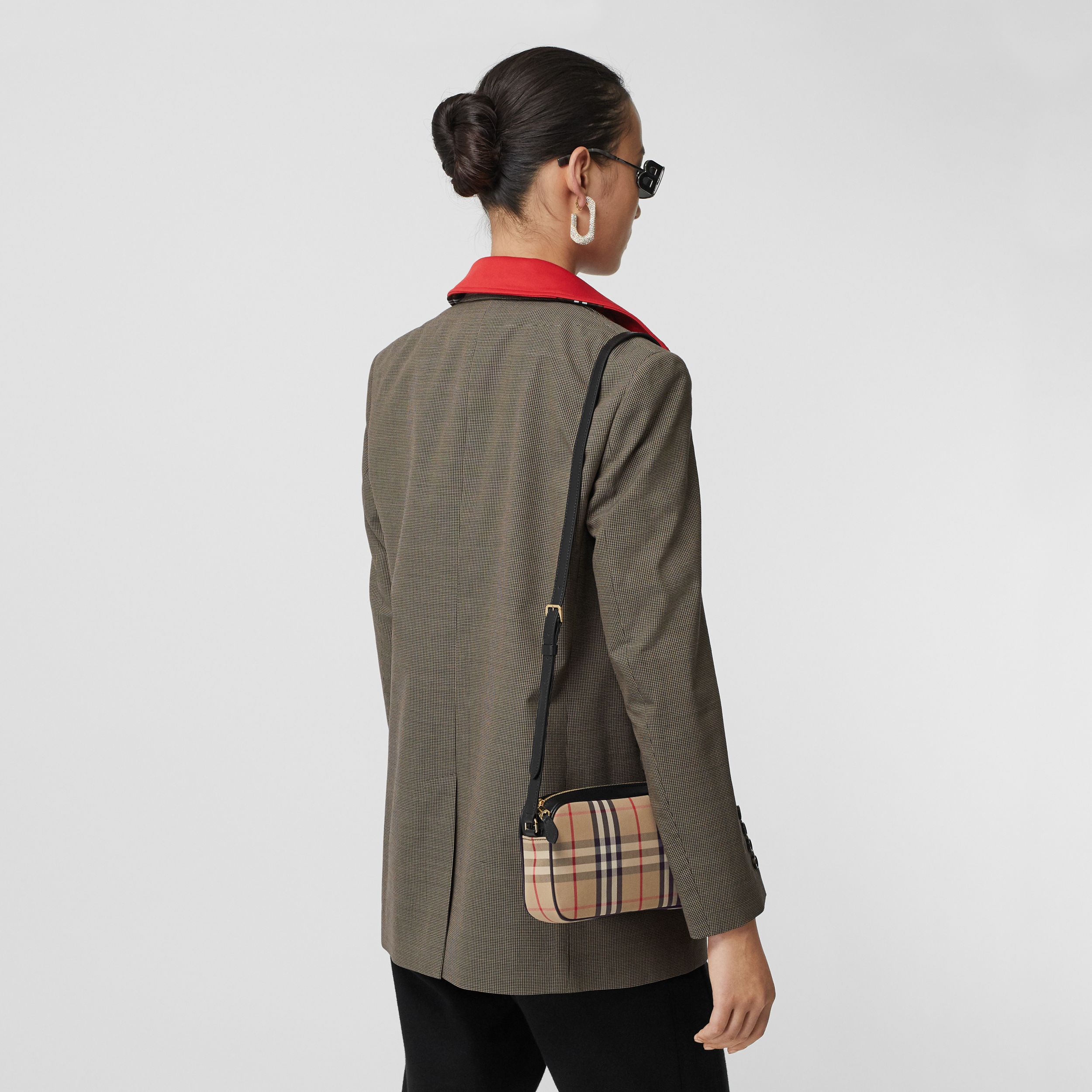 Small Vintage Check and Leather Camera Bag in Archive Beige - Women | Burberry - 3