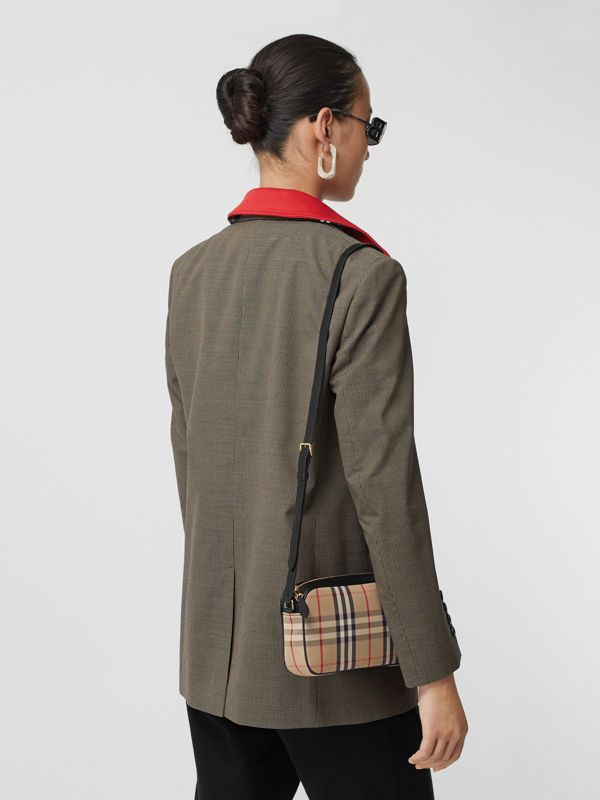 Small Vintage Check and Leather Camera Bag in Archive Beige - Women | Burberry United Kingdom - cell image 2