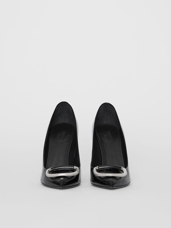 The Patent Leather D-ring Stiletto in Black/nickel - Women | Burberry - cell image 3