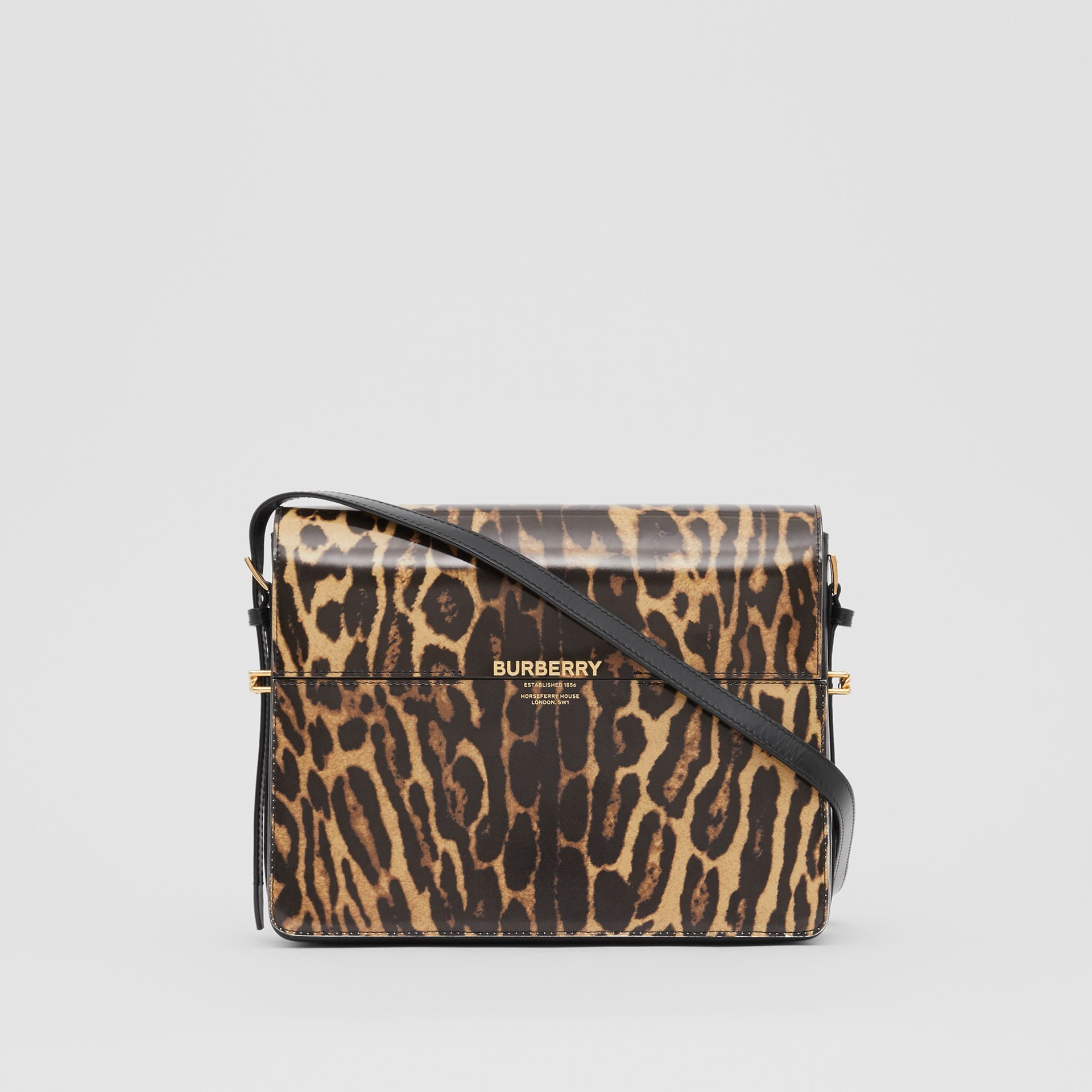 Large Leopard Print Leather Grace Bag in Dark Mustard - Women | Burberry Hong Kong S.A.R - gallery image 0