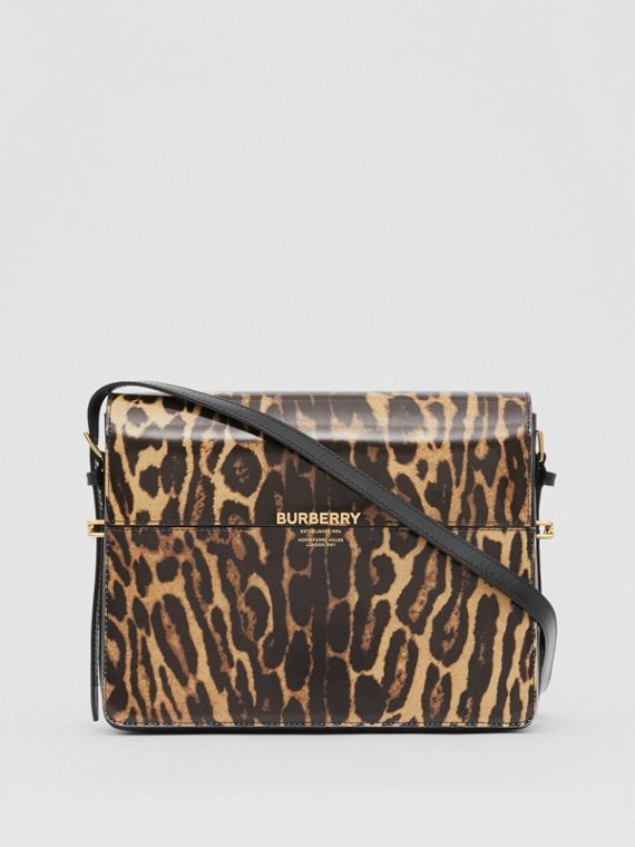 Large Leopard Print Leather Grace Bag in Dark Mustard