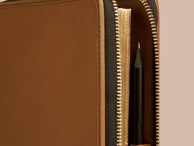 Tan Ziparound Leather and House Check A5 Notebook - cell image 1